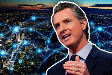 Image of Gov. Gavin Newsom backed by the concept of telecommuting
