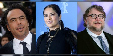 Photo of Director Alejandro González Iñárritu, actress Salma Hayek and Director Guillermo Del Toro.