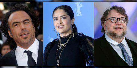 Photo of Director Alejandro González Iñárritu, actress Salma Hayek and Director Guillermo Del Toro.