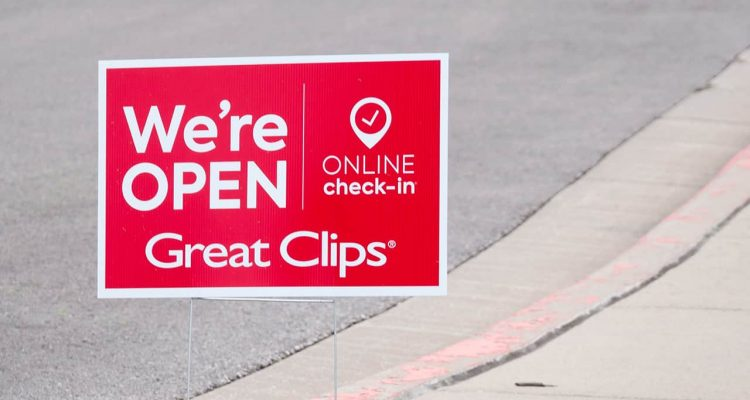 Photo of a Great Clips open sign