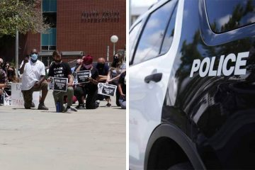 Side-by-side images of Black Lives Matter protesters and a Fresno Police Department cruiser