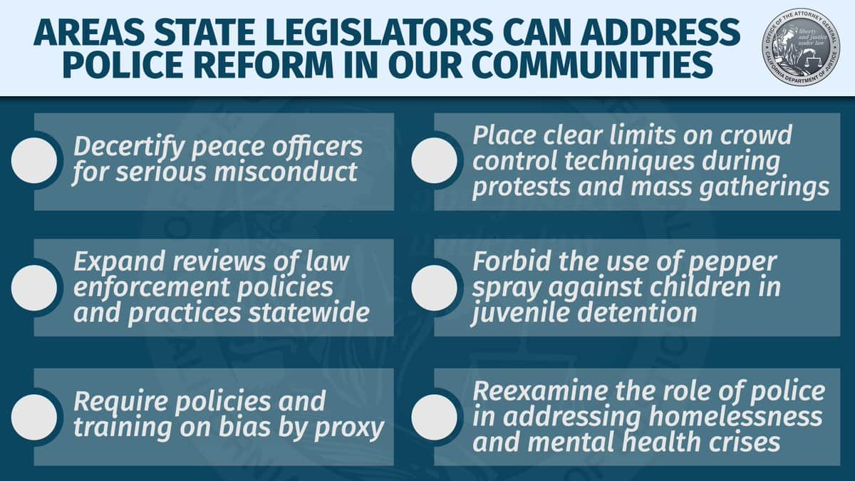 Graphic showing California AG Xavier Becerra's recommendations for criminal justice reform legislation re