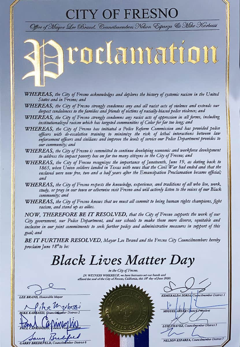 Image of the proclamation declaring Black Lives Matter Day in Fresno, CA, on June 18, 2020