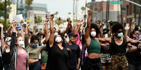 Photo of protesters in Beverly Hills