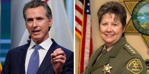 Side by side images of Gavin Newsom, left, and Fresno County Sheriff Margaret Mims