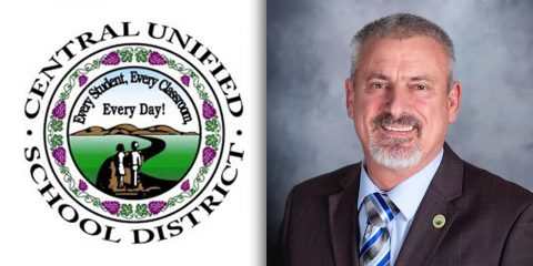Side by side images of the Central Unified School District logo and trustee Richard Atkins