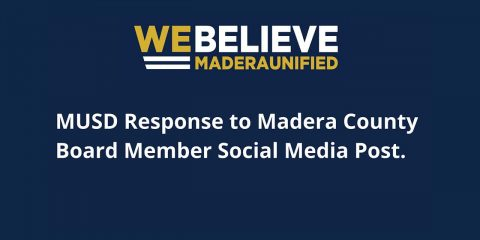 "Image of Madera Unified School District motto ""We Believe)"
