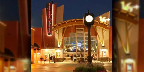 Image at night of the entry to Sierra Vista Cinemas in Clovis, California