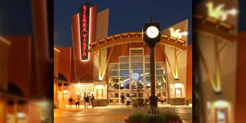 Image at night of the entry to Sierra Vista Cinemas in Clovis, California