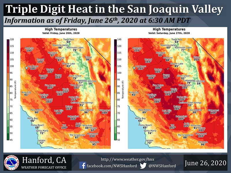 Image of San Joaquin Valley high temperatures for July 26-27, 2020n