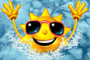 Image of a cartoon sun wearing sunglasses and emerging from an ice bath