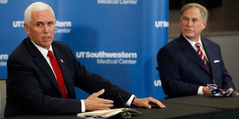 Photo of VP Mike Pence and Texas Gov. Greg Abbott