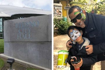 Side by side images of exterior of Fresno City Hall and councilman Miguel Arias and his son