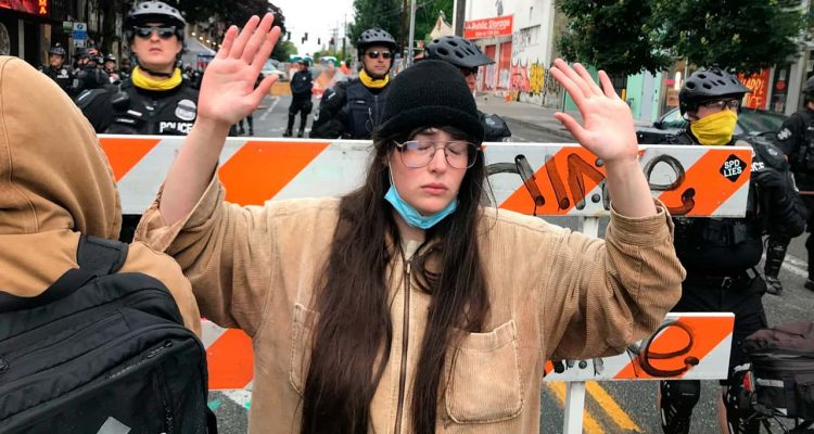 Photo of a protester in Seattle