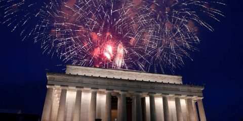Photo of fireworks at the Lincoln Memorial