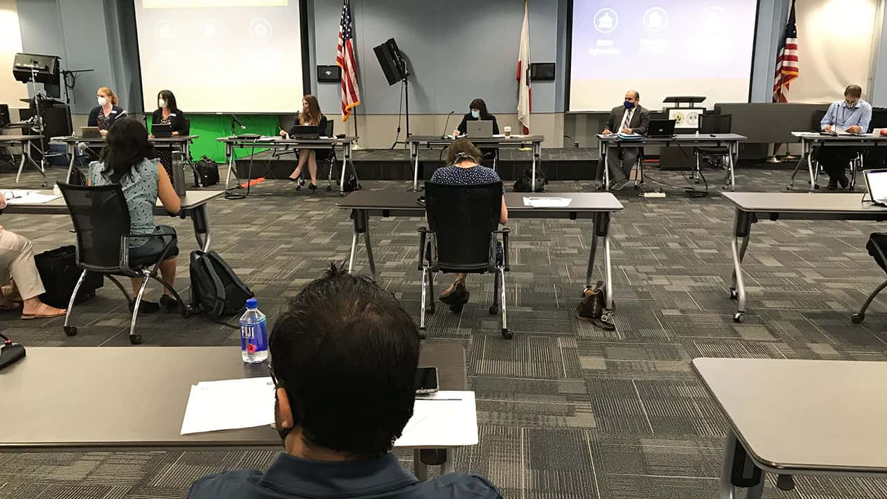 Image of a COVID-19 strategy meeting in Fresno, California