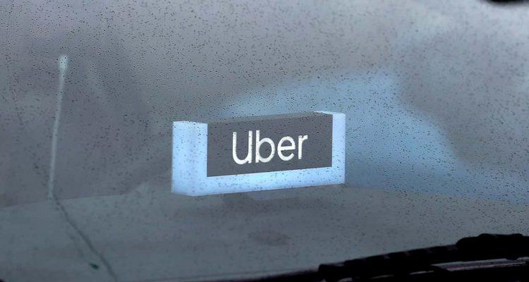 Photo of an Uber light inside a car