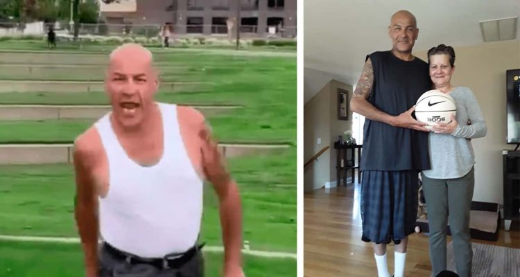 Side by side images of viral video basketball star Joe Salazar Jr. on a court and Salazar with his wife Renee