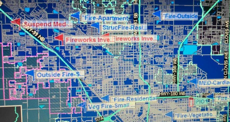 Image of Fresno Fire Department active fires map early July 5 after battling Fourth of July blazes caused by illegal fireworksnf