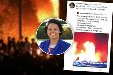 Portrait of Sandra Celedon combined with her controversial tweet on a background of a fire