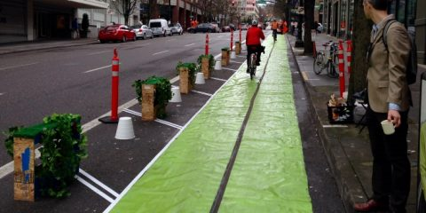 Image of a protected bike lane demonstration in Portland, Oregono