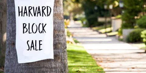 Photo of a Harvard Block Sale sign stuck to a tree in Fresno, California