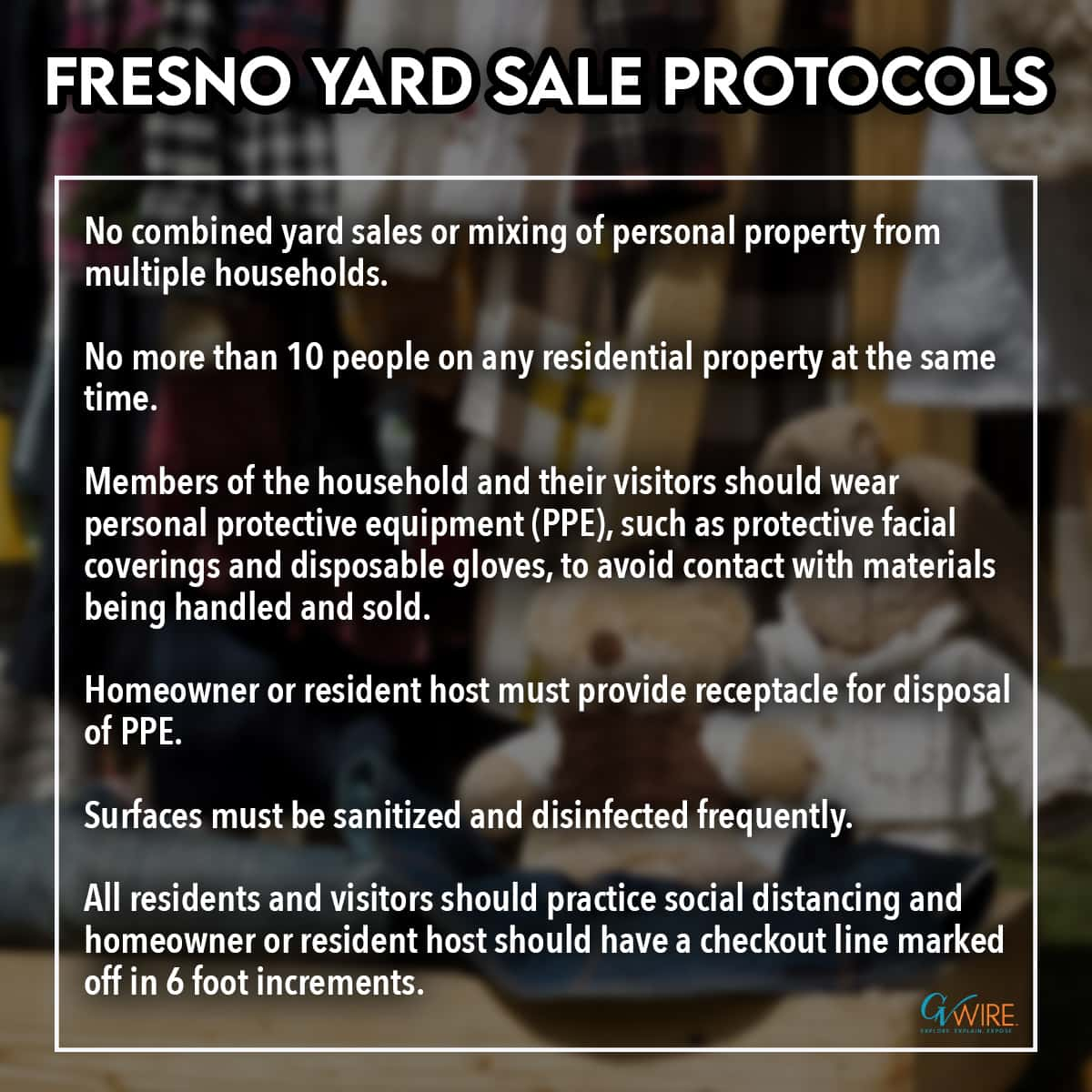 Chart listing the COVID-19 protocols for conducting a yard sale in Fresno, California