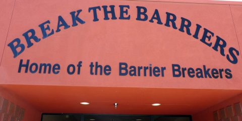 Image of the Break the Barriers sign in Fresno, California