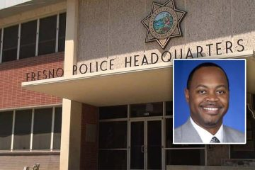 Portrait of Oliver Baines embedded into picture of front of Fresno Police headquarters