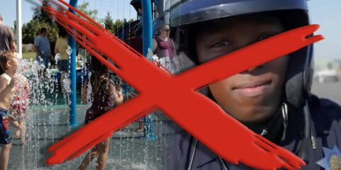 A red X over images of kids in a splash park and a police officer signifying that Fresno won't have a combined parks-public sales tax proposal on the November 2020 ballotfetye