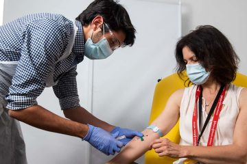 Photo of a woman getting a vaccine in Oxford