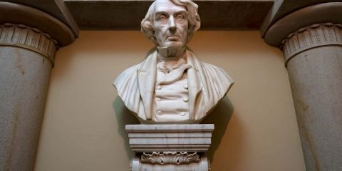 Photo of a marble bust of Chief Justice Roger Taney