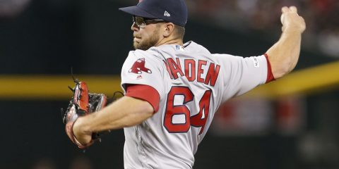 Photo of Boston Red Sox relief picture Marcus Walden delivering a pitch to the plate.