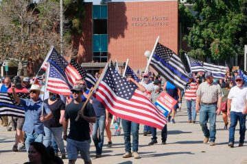 Image of Back the Blue marchers in Fresno, California