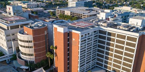 Aerial view of Community Regional Medical Center in downtown Fresno, California