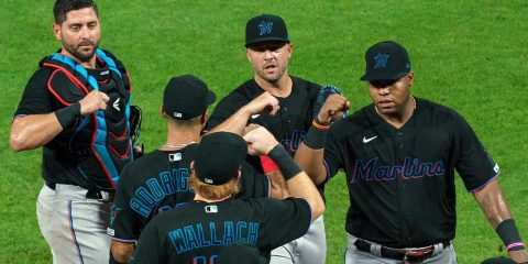 Image of Miami Marlins celebrating a victory in violation of MLB's coronavirus protocols