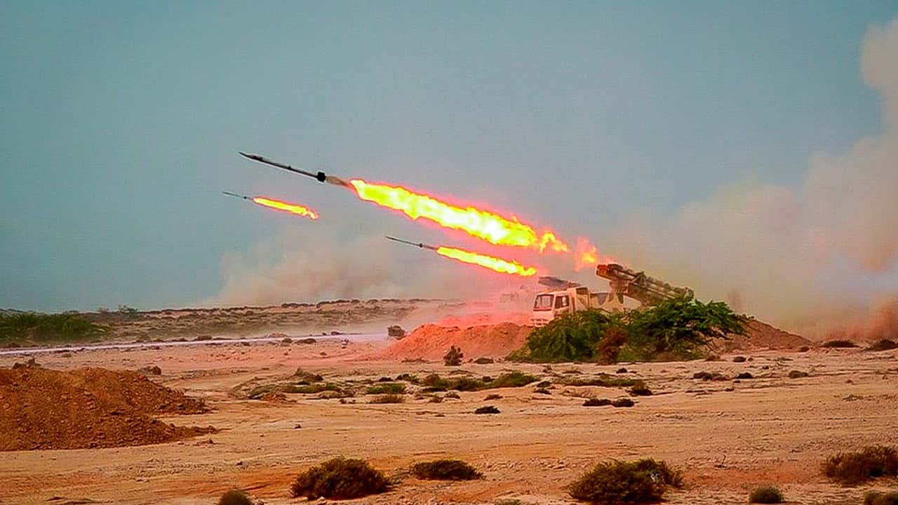 Photo of missiles fired in a Revolutionary Guard military exercise
