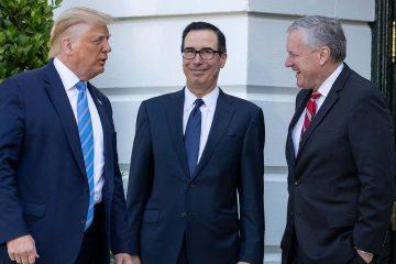 Photo of President Donald Trump, Treasury Secretary Steven Mnuchin, White House Chief of Staff Mark Meadows
