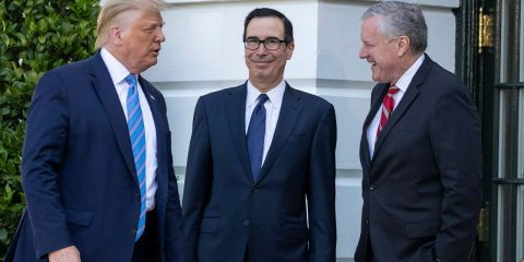 Photo of President Donald Trump, Treasury Secretary Steven Mnuchin, White House Chief of Staff Mark Meadows