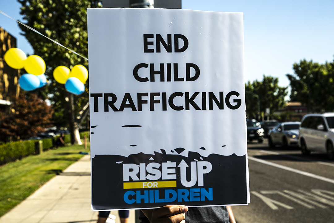 Photo of End Child Trafficking sign at a rally in Fresno, California