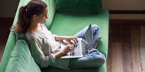 Image of a high school student taking part in distance learning