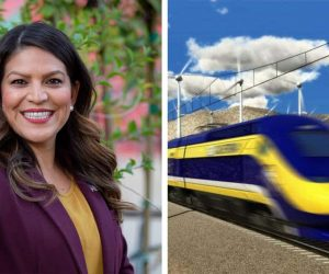 Side-by-side panel images of Esmeralda Soria and a bullet train ide p0