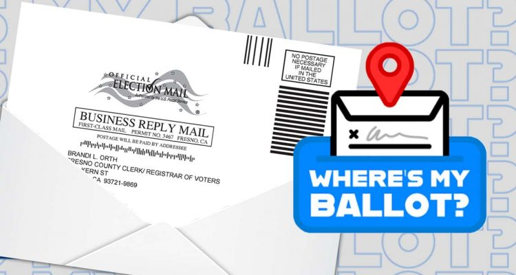 "Composite image of a vote-by-mail ballot and the words ""Where's My Ballot?"""