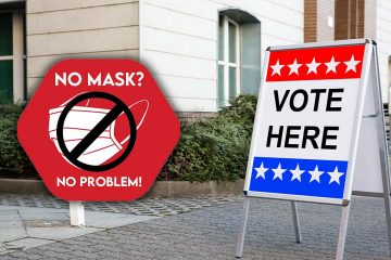 A composite image showing a No Mask No Problem sign next to a polling site