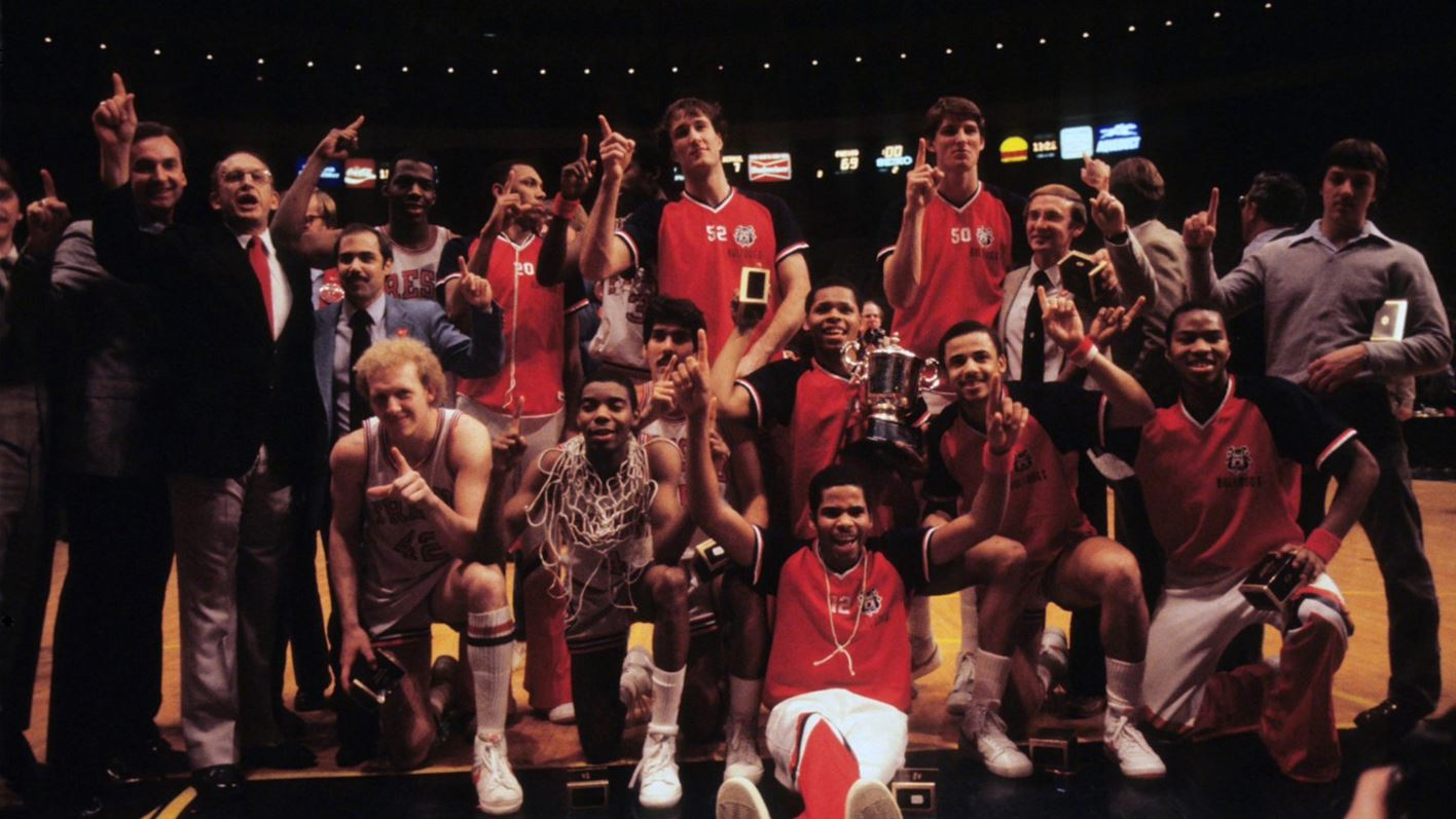 Team picture of 1983 Fresno State men's basketball team after winning the NIT title.3