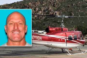 Image of pilot Mike Fournier and the helicopter he died in while fighting a wildfire on Aug. 19 near Coalinga, California