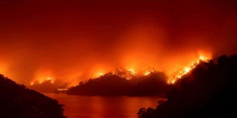 Photo of fire burning at Lake Berryessa in Napa County