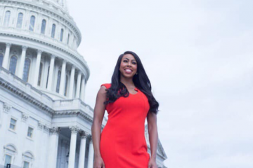 Composite photo of Maryland congressional candidate Kim Klacik and the U.S. Capitol