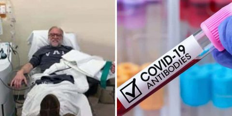 "Twin images of COVID-19 plasma donor Walter Lamkin and a vial of blood with the words ""COVID-19 antibodies"""