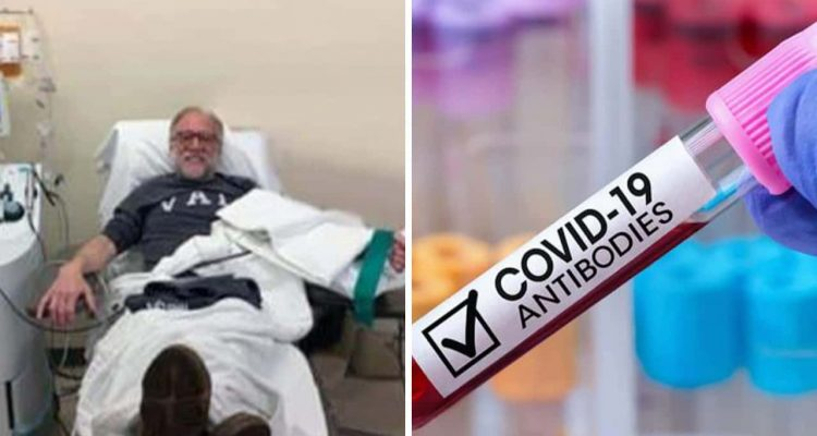 """Twin images of COVID-19 plasma donor Walter Lamkin and a vial of blood with the words """"COVID-19 antibodies"""""""